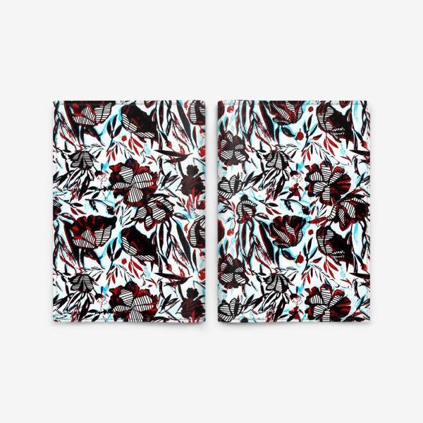 Обложка для паспорта «Цветы паттерн голубой розовый белый черный»