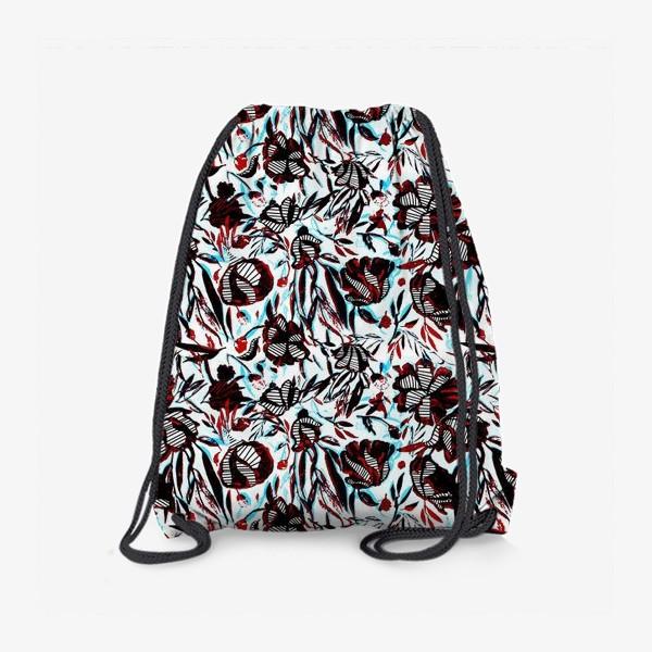 Рюкзак «Цветы паттерн голубой розовый белый черный»