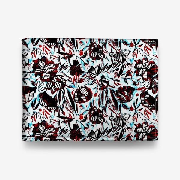 Кошелек «Цветы паттерн голубой розовый белый черный»