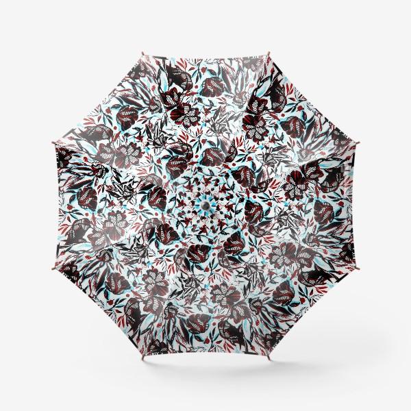 Зонт «Цветы паттерн голубой розовый белый черный»