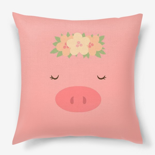 Подушка «Свинка в цветочном венке»