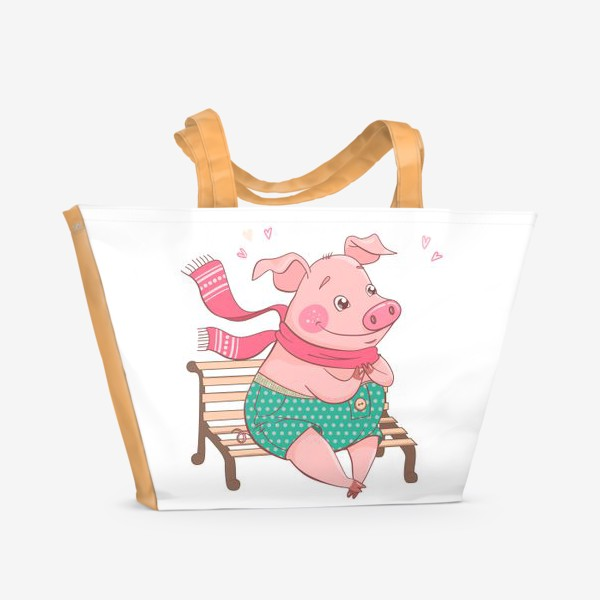 Пляжная сумка «Влюбленный Хрюндель в зеленых штанах в горошек сидит на скамейке»