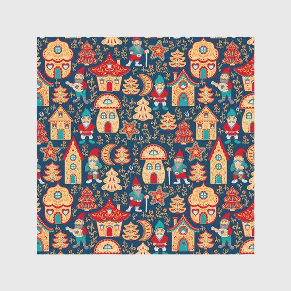 Скатерть «Сказочные гномики, расписные домики, елочки, цветы и звезды на синем фоне»