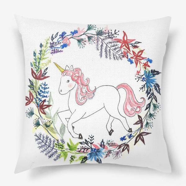 Подушка «Цветочный единорог»