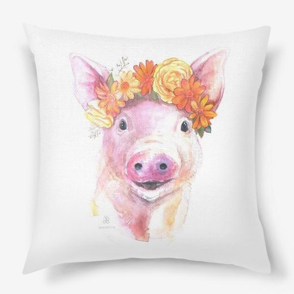 Подушка «Свин и цветы»