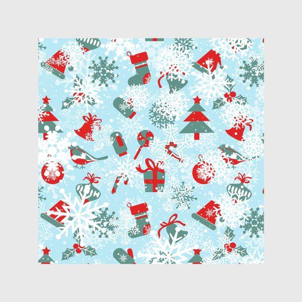 Скатерть «Зимный снежный узор со снежинками и яркими новогодними подарками»
