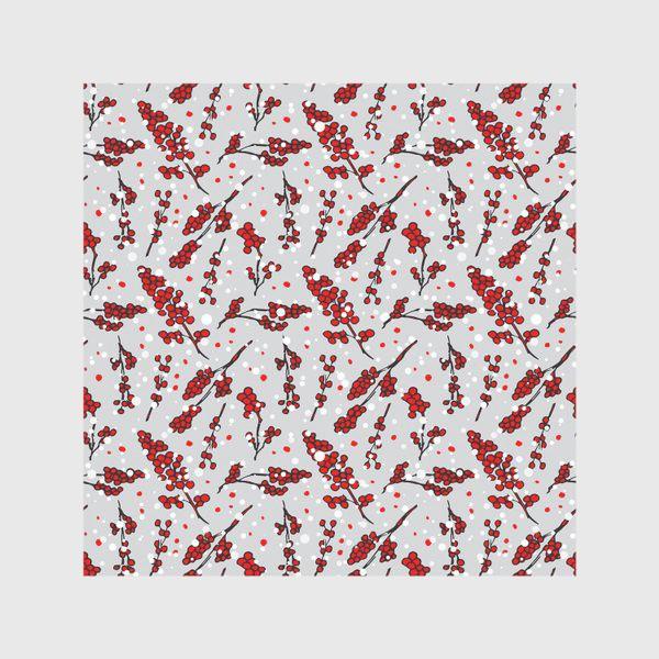 Скатерть «Зимный снежный узор со снежинкамина сером фоне и красными ягодами»