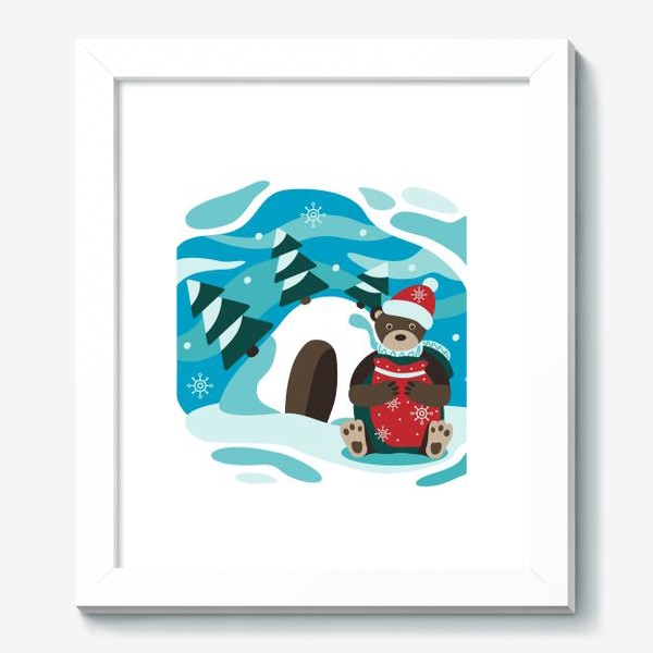Картина «Зимняя детская иллюстрация. Мишка»