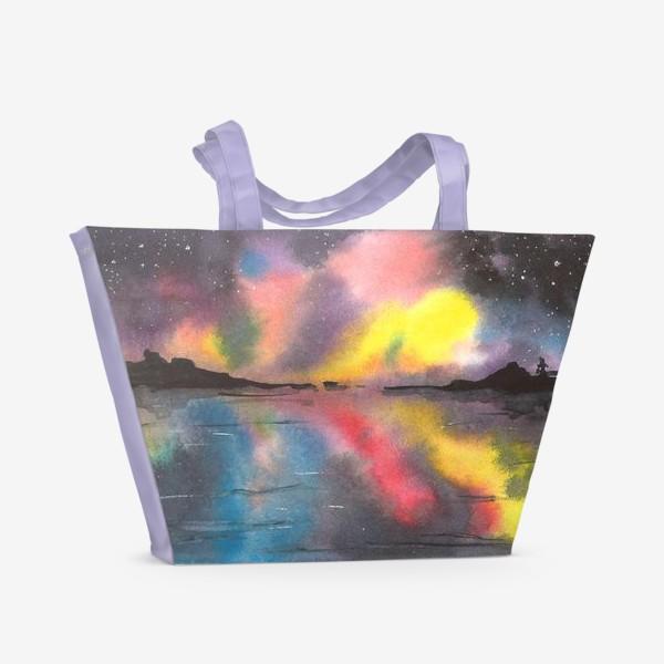 Пляжная сумка «Звездное небо над водой»