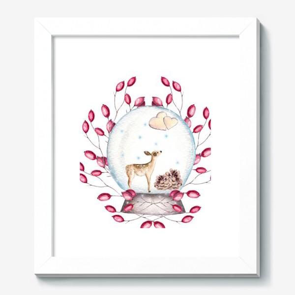 Картина «Волшебный шар, олень, сердечки, ягоды, зима, новый год, рождество»