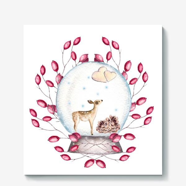 Холст «Волшебный шар, олень, сердечки, ягоды, зима, новый год, рождество»