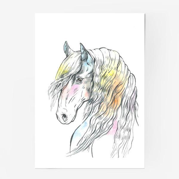 Постер «Конь фриз пастельный»
