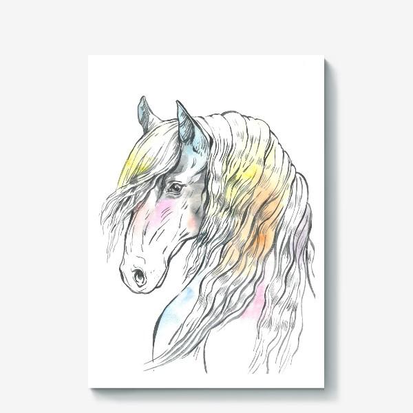 Холст «Конь фриз пастельный»