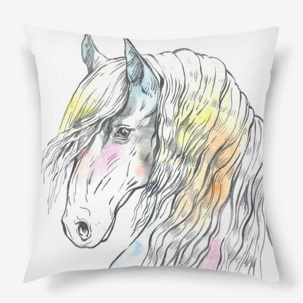 Подушка «Конь фриз пастельный»