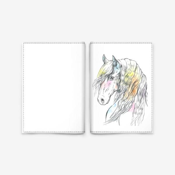 Обложка для паспорта «Конь фриз пастельный»