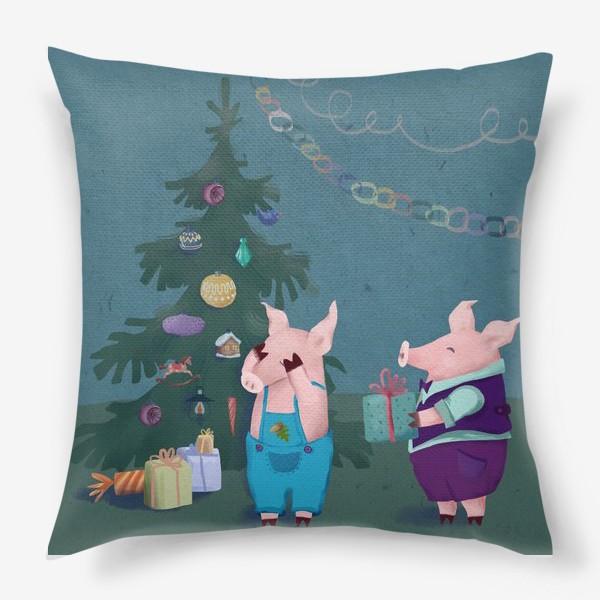 Подушка «Поросята с подарками.»