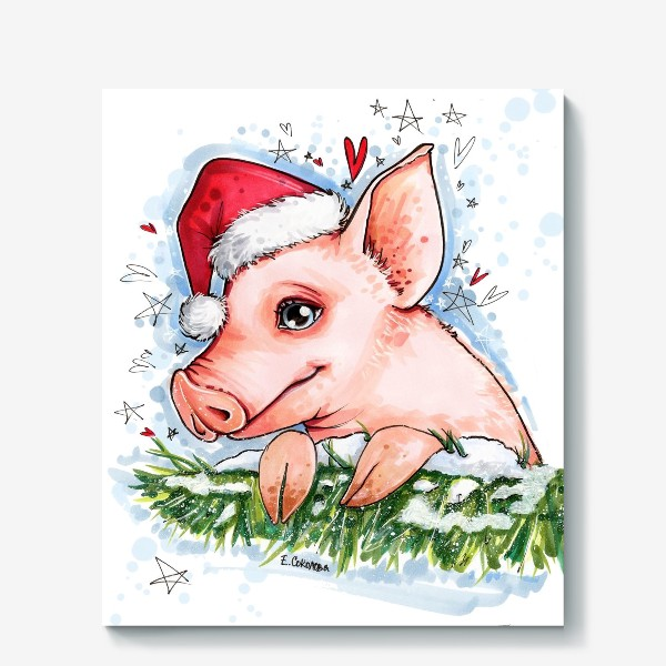 Холст «Новый год. Свинка, елочка, снежок»
