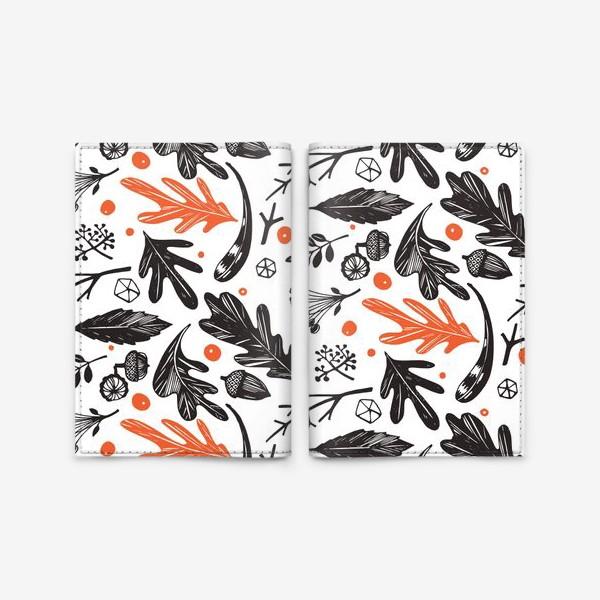 Обложка для паспорта «Осенний паттерн с дубовыми листьями»