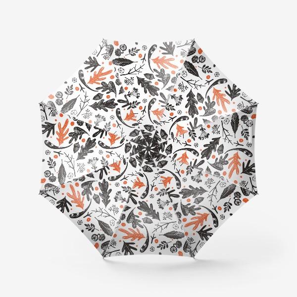 Зонт «Осенний паттерн с дубовыми листьями»