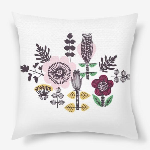 Подушка «Цветы в скандинавском стиле»