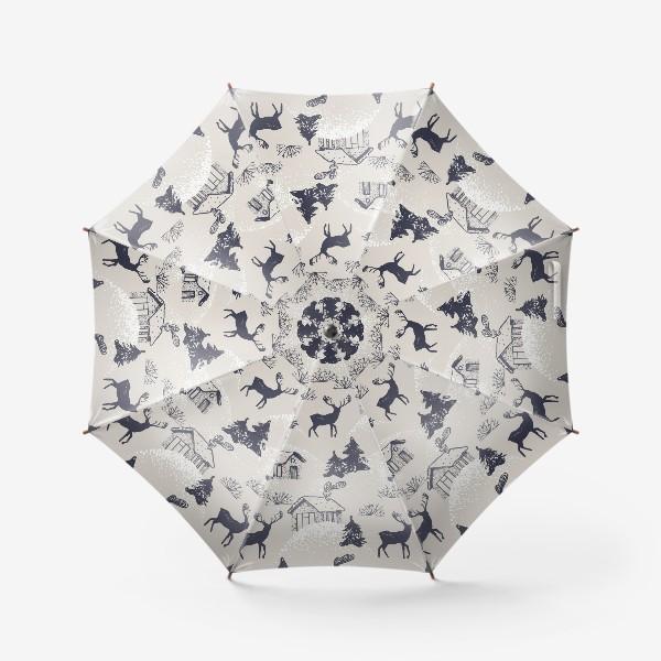 Зонт «Заснеженная деревушка »