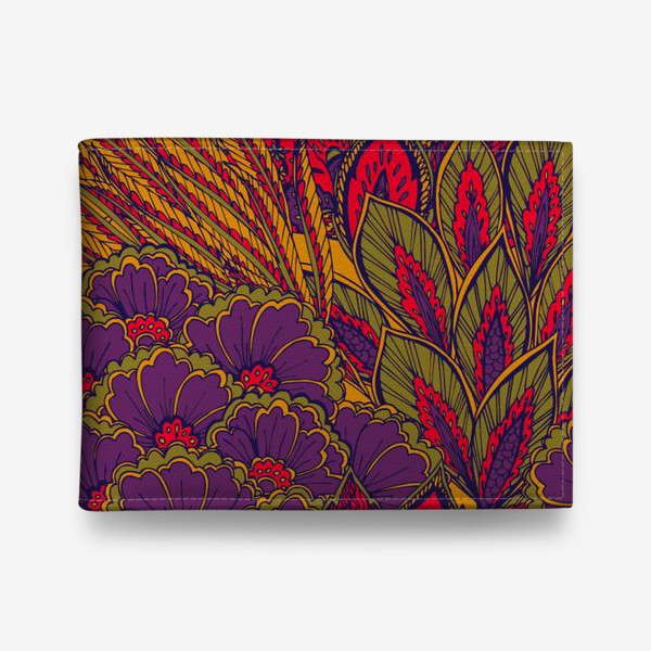 Кошелек «Паттерн из осенних цветов и листьев в восточном стиле»