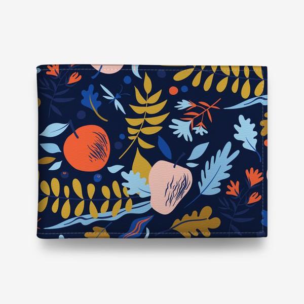 Кошелек «осенний паттерн с яблоками и цветами»