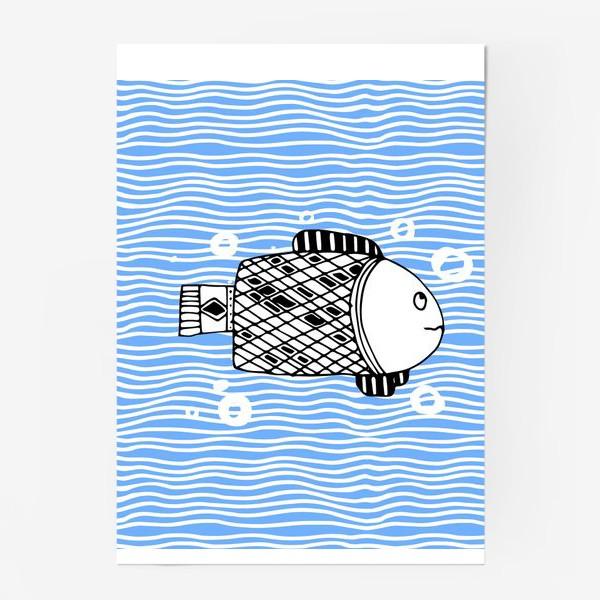 Постер «Fish doodle  on  wave background.»