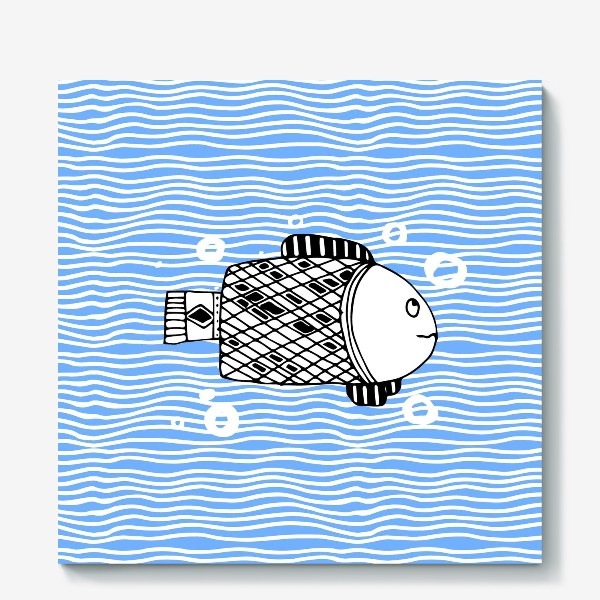 Холст «Fish doodle  on  wave background.»
