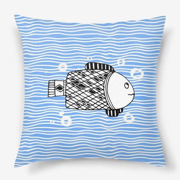 Подушка «Fish doodle  on  wave background.»