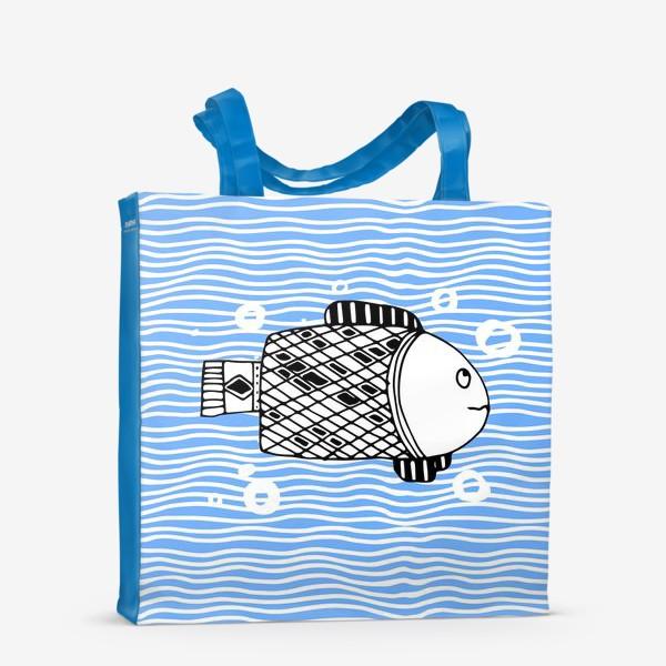 Сумка-шоппер «Fish doodle  on  wave background.»