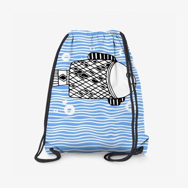 Рюкзак «Fish doodle  on  wave background.»