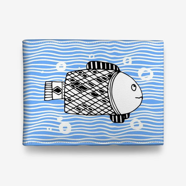 Кошелек «Fish doodle  on  wave background.»