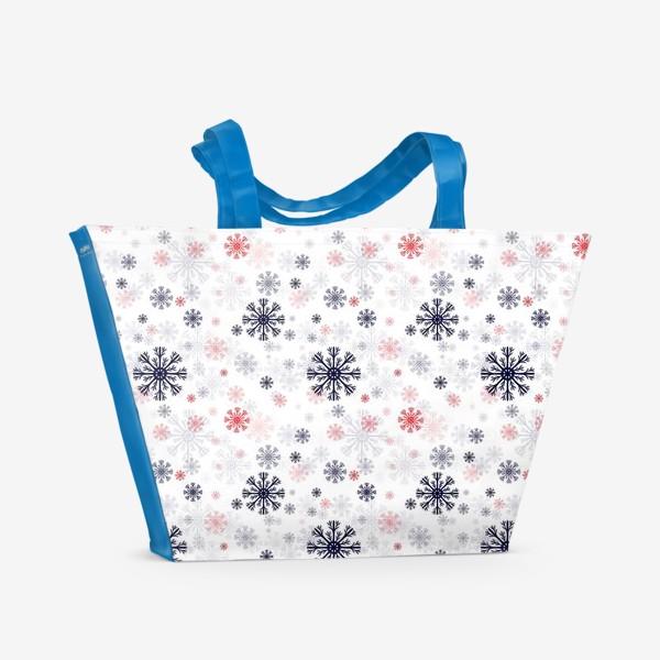 Пляжная сумка «Цветные снежинки»