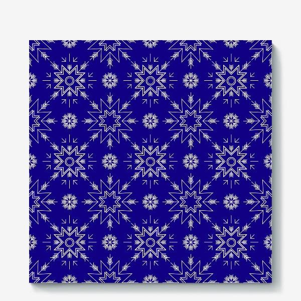 Холст «Паттерн со снежинками. Синий»