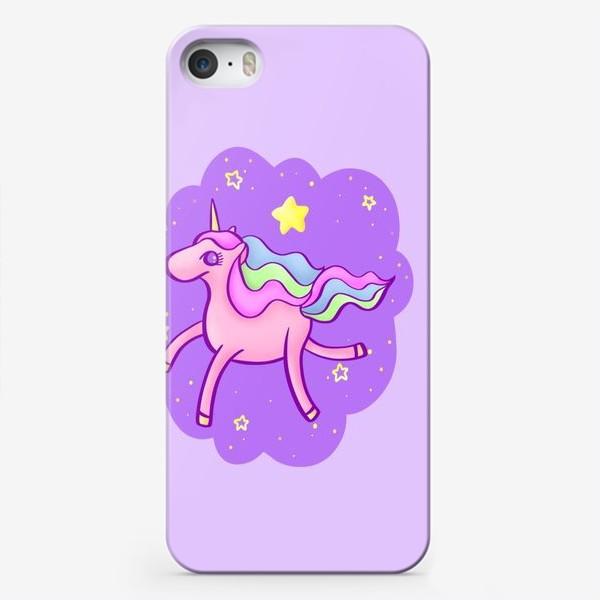 Чехол iPhone «Розовый единорог в сиреневом облаке»