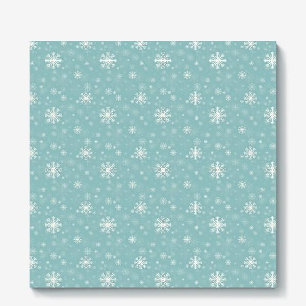 Холст «Снежинки на голубом фоне»