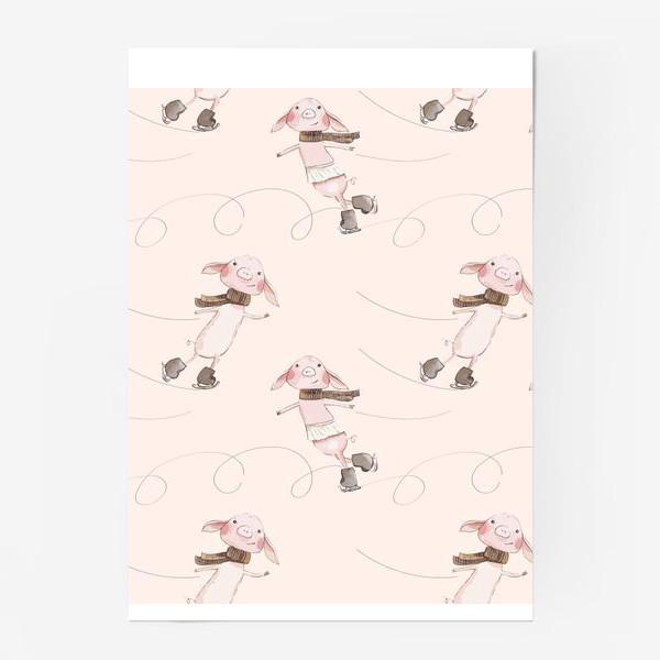 Постер «Пудровые хрюшки на коньках »