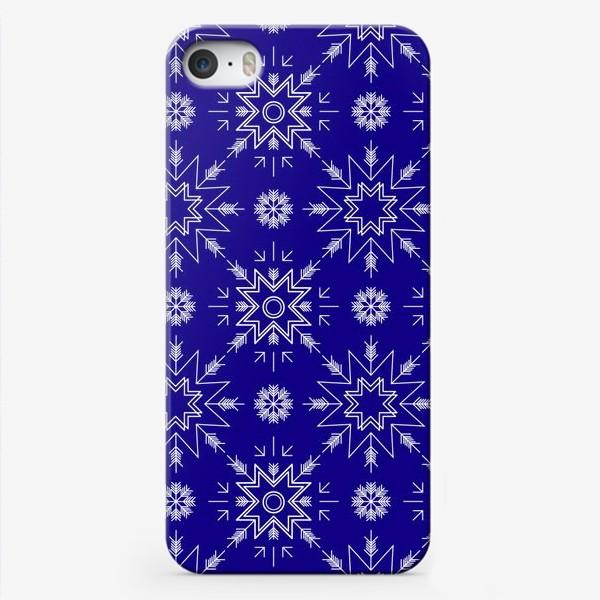 Чехол iPhone «Паттерн со снежинками. Синий»