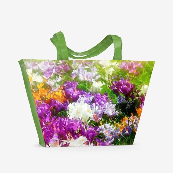 Пляжная сумка «Абстракция из крокусов»