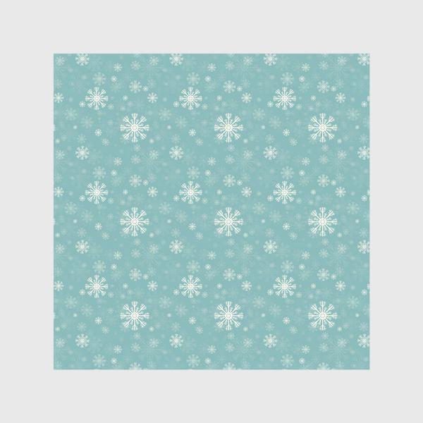 Шторы «Снежинки на голубом фоне»