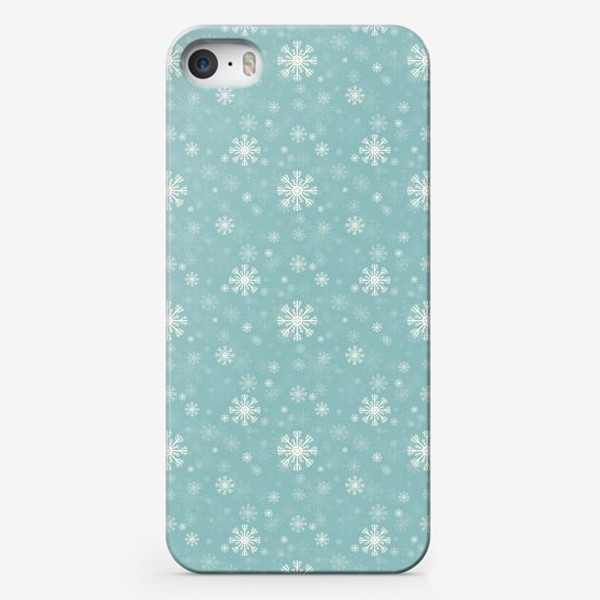 Чехол iPhone «Снежинки на голубом фоне»
