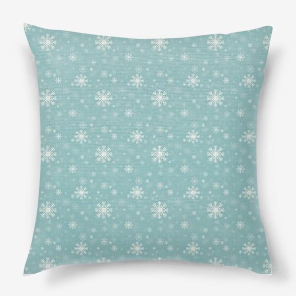 Подушка «Снежинки на голубом фоне»