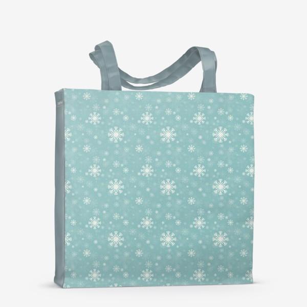 Сумка-шоппер «Снежинки на голубом фоне»