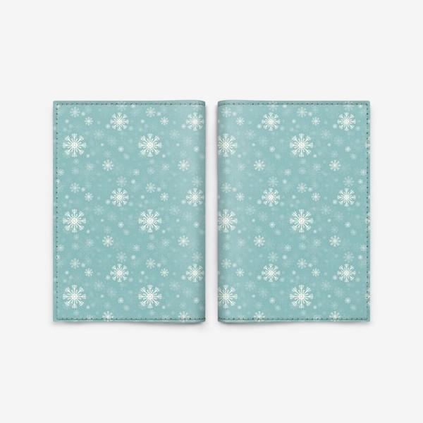 Обложка для паспорта «Снежинки на голубом фоне»