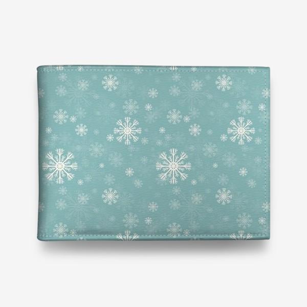 Кошелек «Снежинки на голубом фоне»