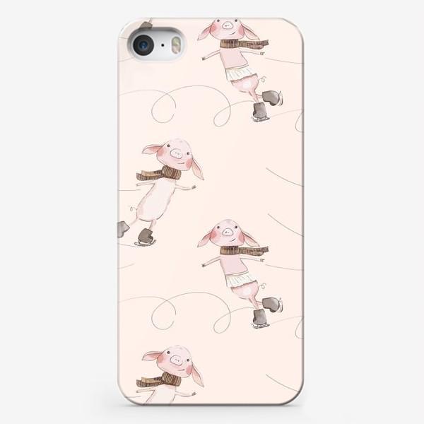 Чехол iPhone «Пудровые хрюшки на коньках »