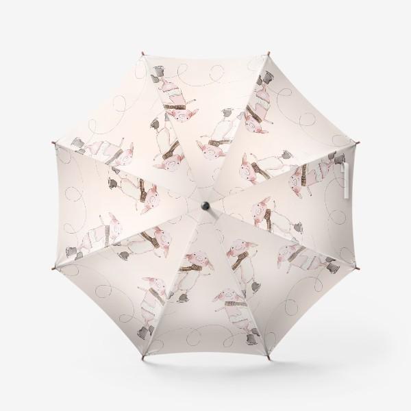 Зонт «Пудровые хрюшки на коньках »