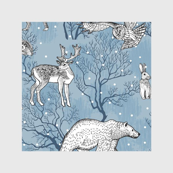 Скатерть «Зимний паттерн с лесными зверями»
