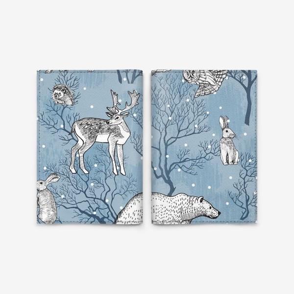 Обложка для паспорта «Зимний паттерн с лесными зверями»